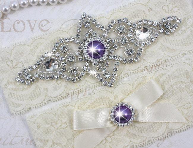 Свадьба - SALE - CHLOE II - Purple Pearls Wedding Garter Set, Wedding Ivory Stretch Lace Garter, Rhinestone Crystal Bridal Garters