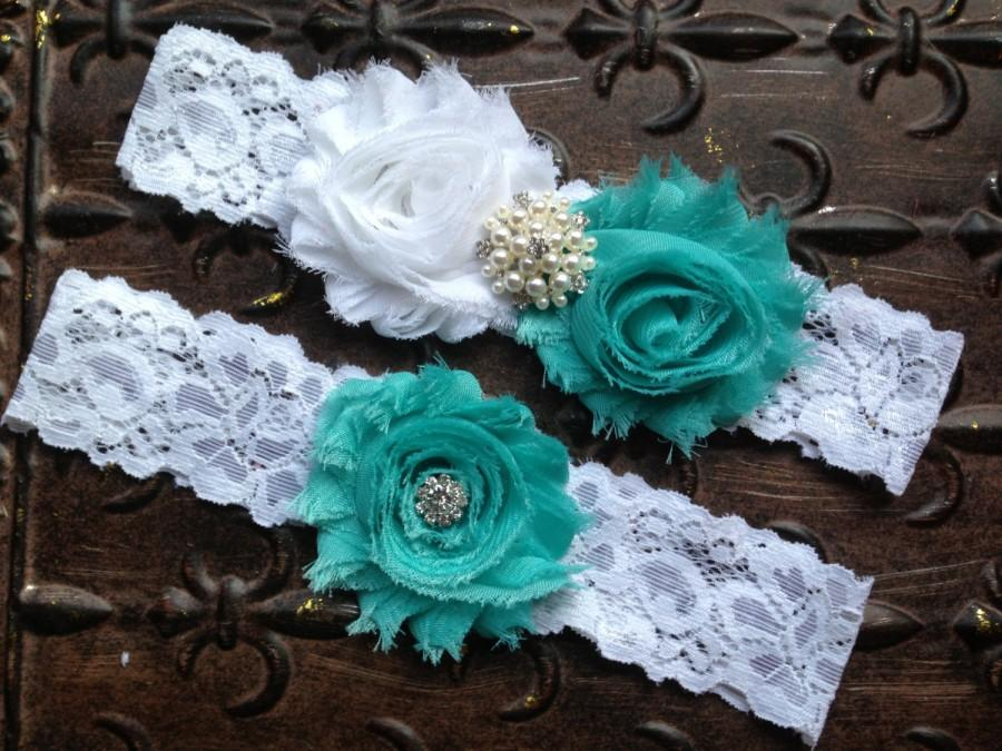 Свадьба - Wedding Garter Set, Turquoise Wedding Garter, Garter Set, Something Blue Wedding Garter, White Turquoise Garter, White Lace Garter, Garters