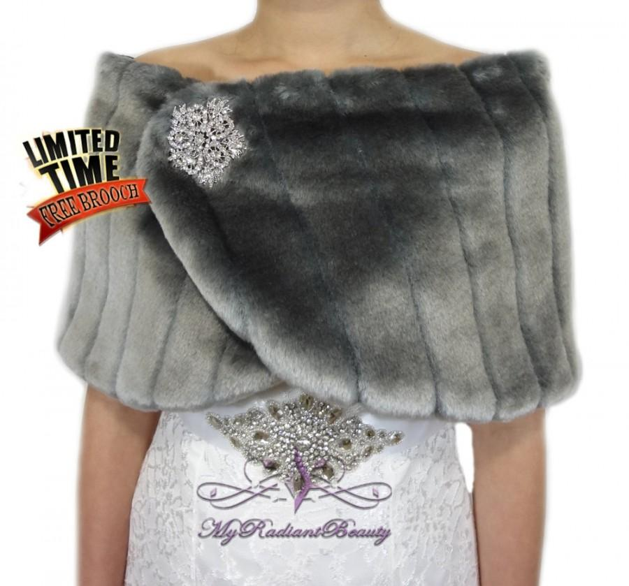 c0a6702fe4f4 Wedding Fur Wrap, WINTER SALE, Faux Fur Wrap, Gray Faux Fur Mink Shawl, Fur  Shrug, Wedding Stole, Faux Fur Stole, Bridal Fur Wrap MW108-GRAY