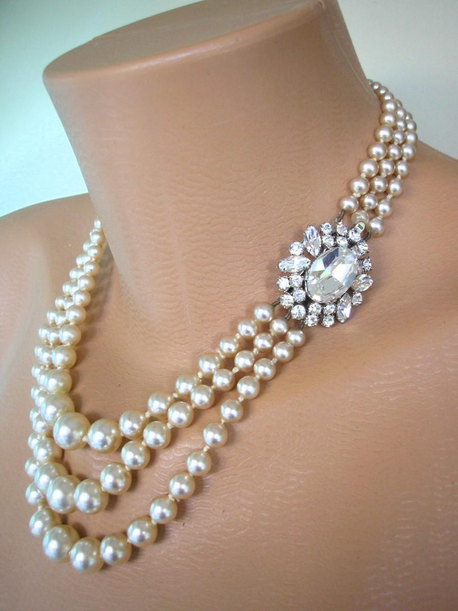 Wedding - Vintage Pearl And Rhinestone Necklace