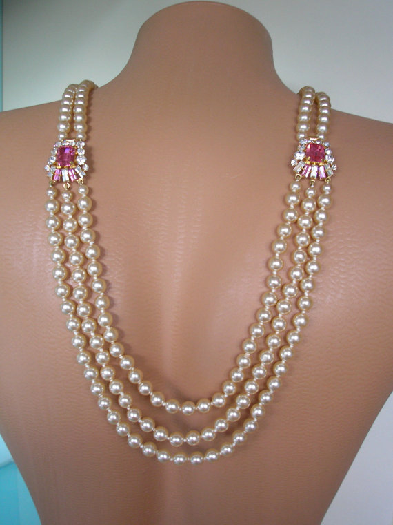 Düğün - Backdrop Necklace, Art Deco, Great Gatsby Jewelry, Downton Abbey, Pearl Neckace, Bridal Backdrop, Back Necklace, Pink Bridal Jewelry