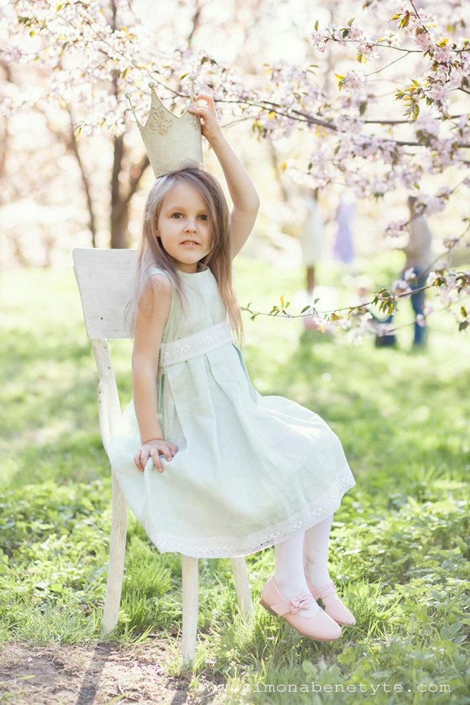 Wedding - Special occasion girl dress -  flower girl mint linen dress -wedding girl dress - Toddler girl dress