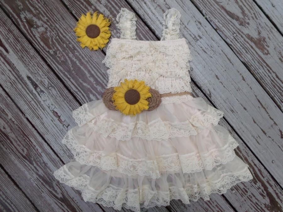 Wedding - Rustic Flower Girl Dress-Sunflower And Burlap Wedding-Sunflower Dress-Country Flower Girl Dress-Rustic Flower Dress-Sunflower Headband