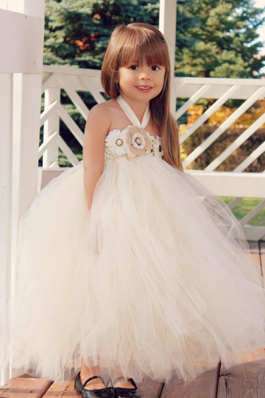 Wedding - Country Couture Flower Girl Tutu Dress/ Shabby Chic Wedding/ Rustic Wedding/ Country Wedding