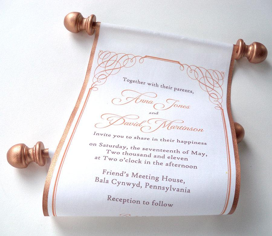calligraphy wedding invitation bronze fabric scroll invitation