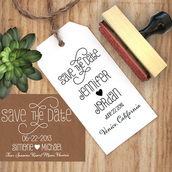 Save The Date Stamp With A Heart And Calligraphy Font Diy Create Your Own Dates