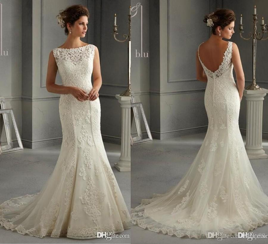 New Arrival 2016 Illusion Bateau Backless Sheath Wedding Dresses Applique Bridal Gowns Mermaid Lace Dress Button Zipper Online With 11388 Piece On