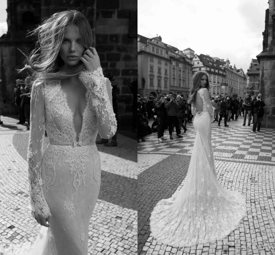 زفاف - 2016 Gorgeous Berta Illusion Long Sleeves Lace Mermaid Wedding Dresses Spring Plunging V Neck Open Back Sweep Train Bridal Gowns With Sash Online with $113.88/Piece on Hjklp88's Store