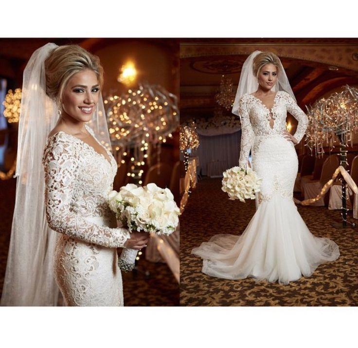 2015 New Elegant Full Long Sleeves Mermaid Wedding Dresses: 2015 Spring Berta Sexy Lace Wedding Dress Bridal Gowns V