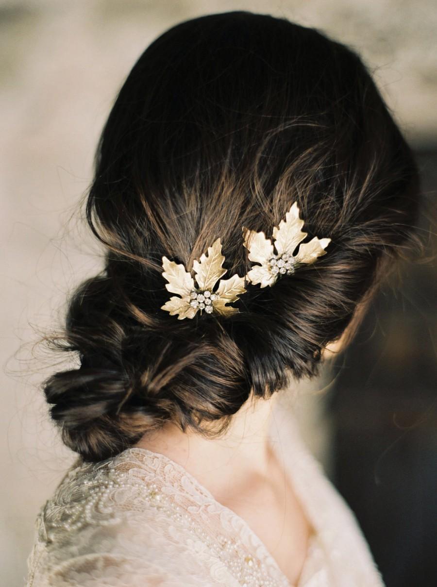 Mariage - Maple Leaf Rhinestone Hair Pins, Leaf Headpiece, Bridal Hair Pins, Bridal headpiece -Style 4515 'Eve' MADE TO ORDER
