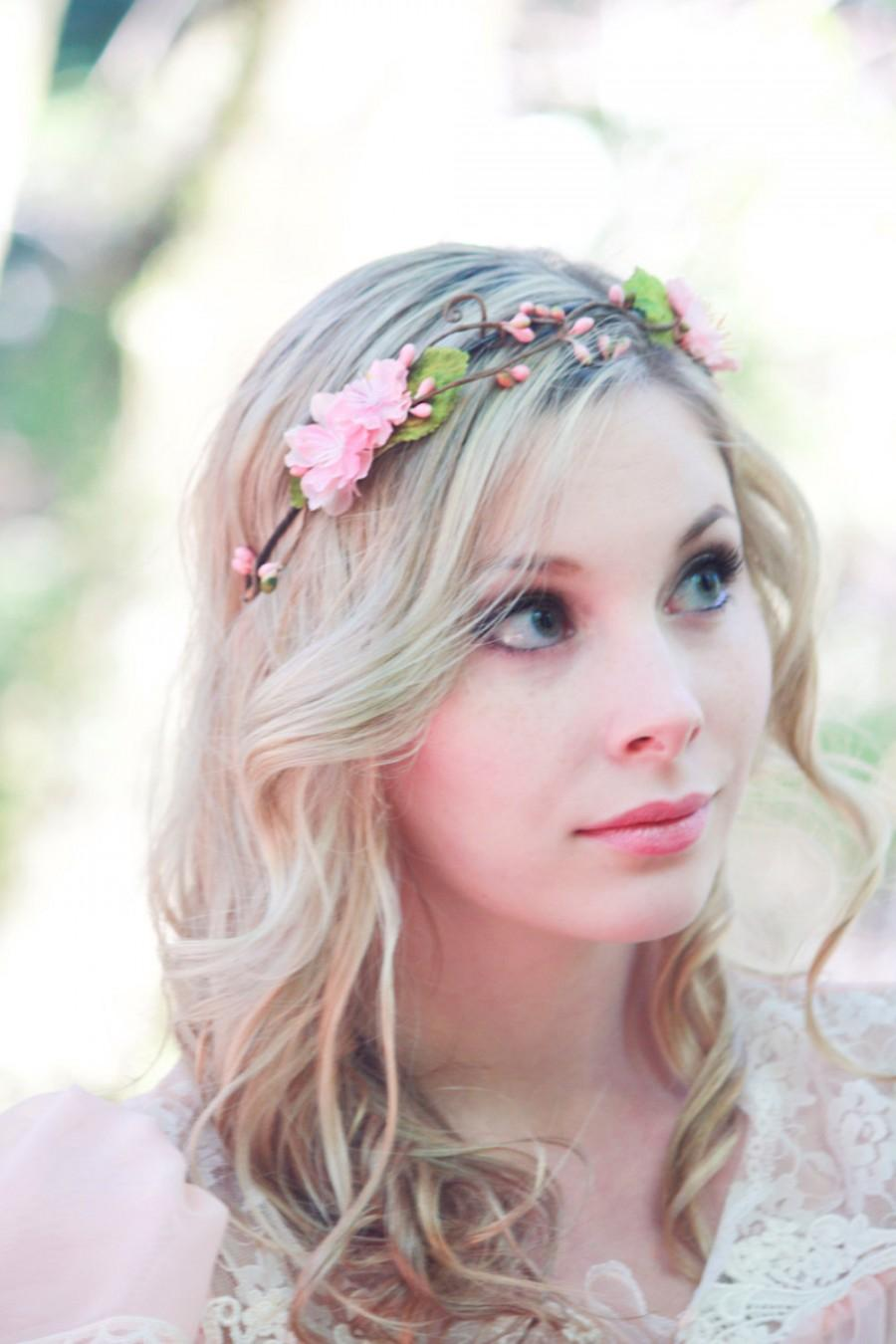 Свадьба - Bridal hair crown, flower crown, floral wreath, pink cherry blossom, pink bridal accessory, flower for hair