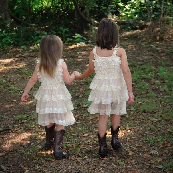 Rustic Flower Girl Dress Champagne Girls Dress Junior