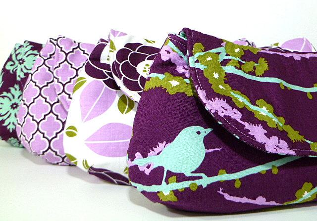 Mariage - Bridesmaid Clutches Wedding Gift Purple Lavender Eggplant Choose Your Fabric Set of 4