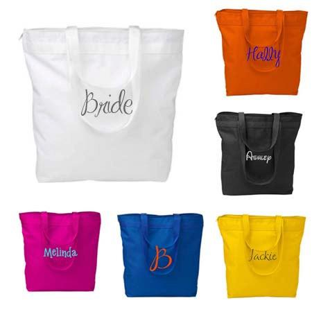 Mariage - 3 Personalized Zippered Tote Bags, Bridesmaid Gifts Set of 3, Embroidered Tote, Monogrammed Tote, Bridal Party Gift