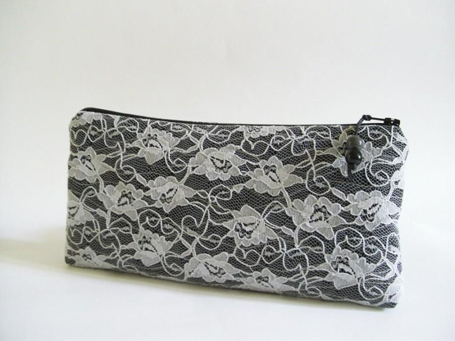 Mariage - Black Wedding Clutch, Light Gray Lace on Black Purse, Lady's Black Evening Clutch, Unique Gift for Woman