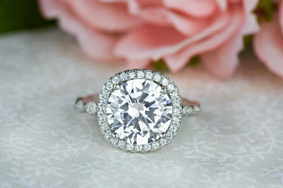 425 Ctw Vintage Style Halo Ring Art Deco Engagement Man Made Diamond Simulants Promise Half Eternity Sterling Silver