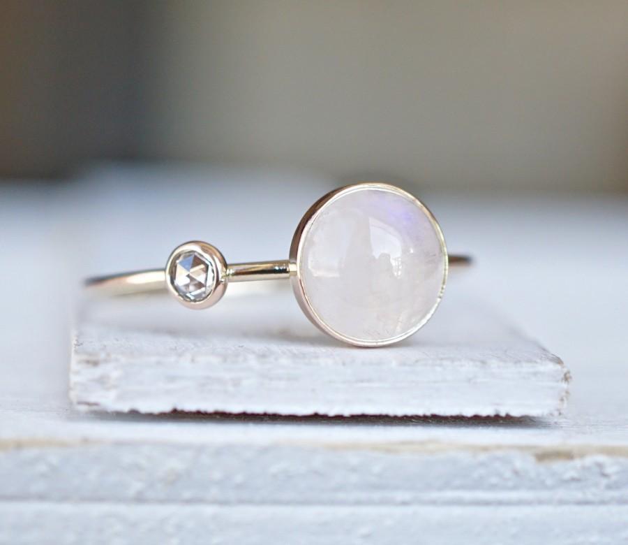Diamond Ring, Rainbow Moonstone Ring, Engagement Ring, Diamond ...