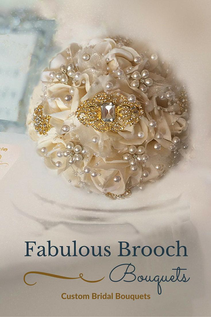 Mariage - Blush Gold Brooch Bouquet, Gatsby Brooch Bouquet, Romantic Wedding, Romantic Bouquet, Ready to Ship 189.99