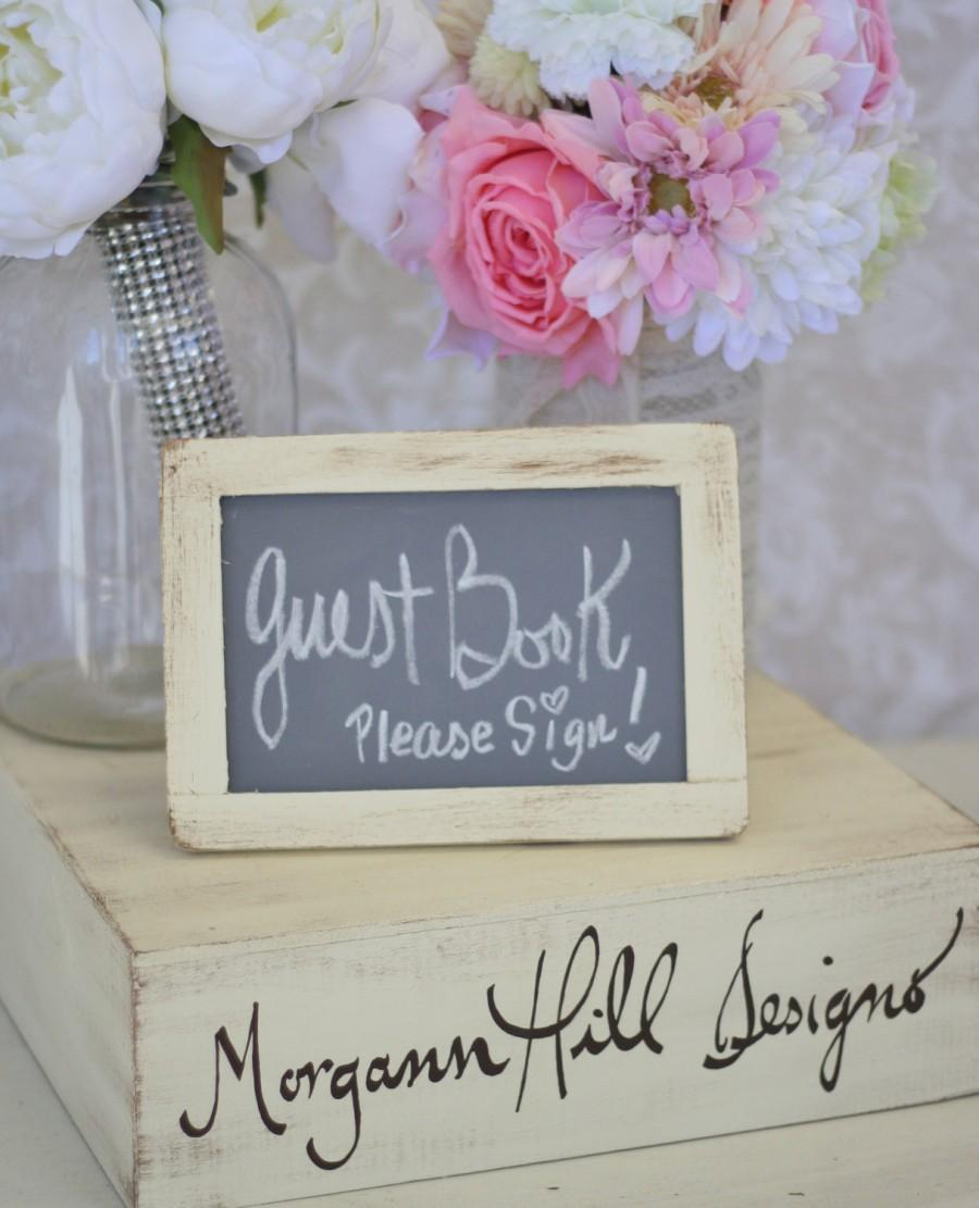 Mariage - Shabby Chic Wedding Chalkboard Sign 4x6 Rustic Decor (item P10106)