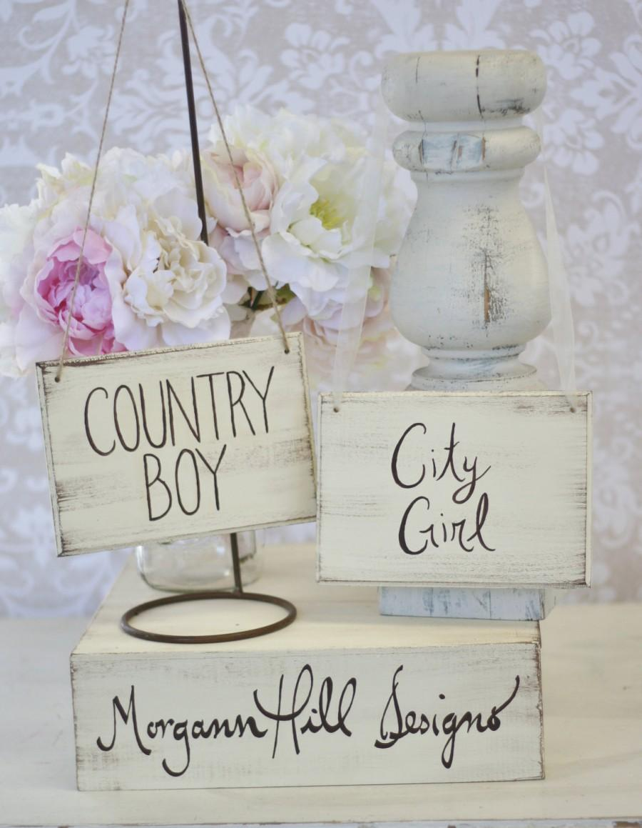 Mariage - Bride and Groom Chair Signs Rustic Chic Wedding Morgann Hill Designs