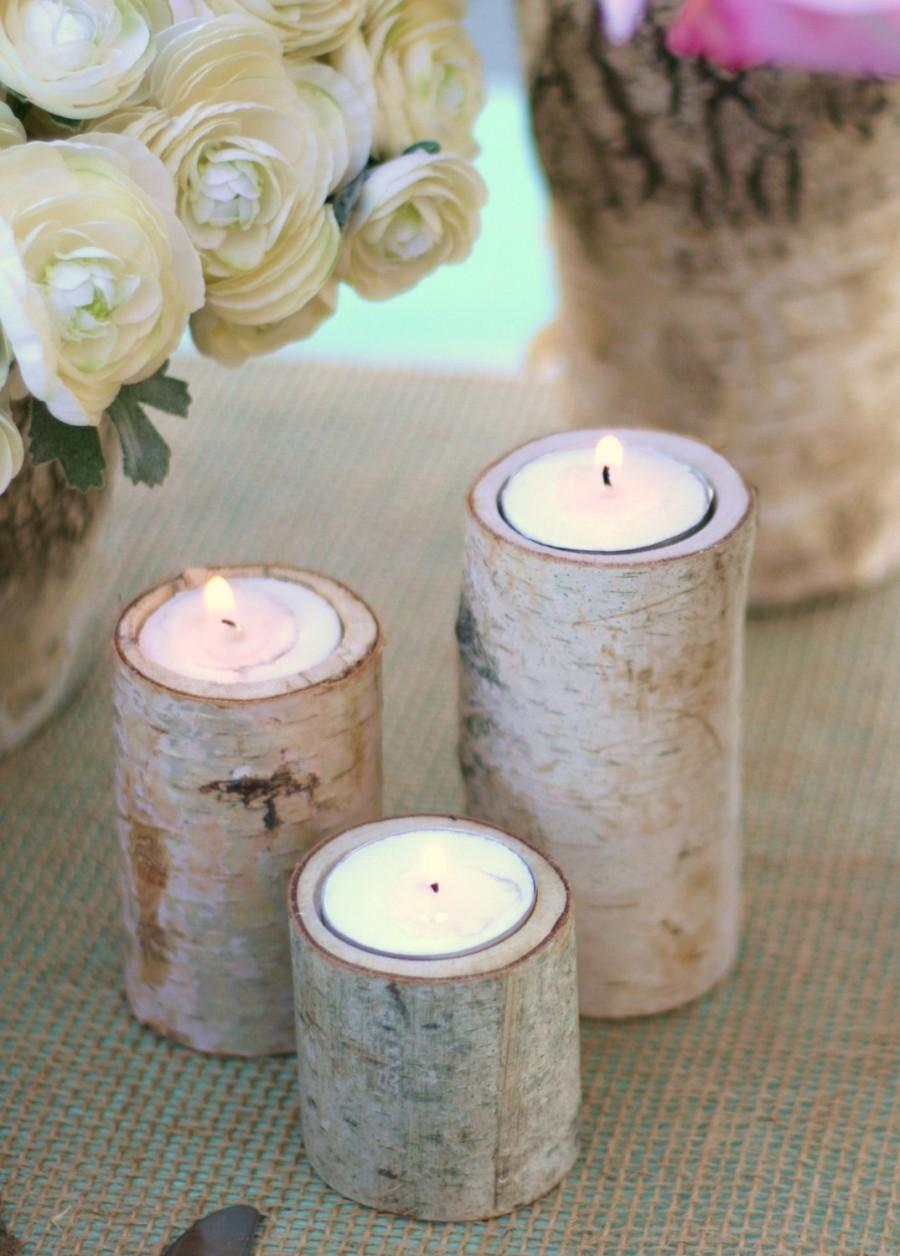 Mariage - 50 Centerpiece Birch Bark Log Candle Holders Rustic Chic (item M10564)