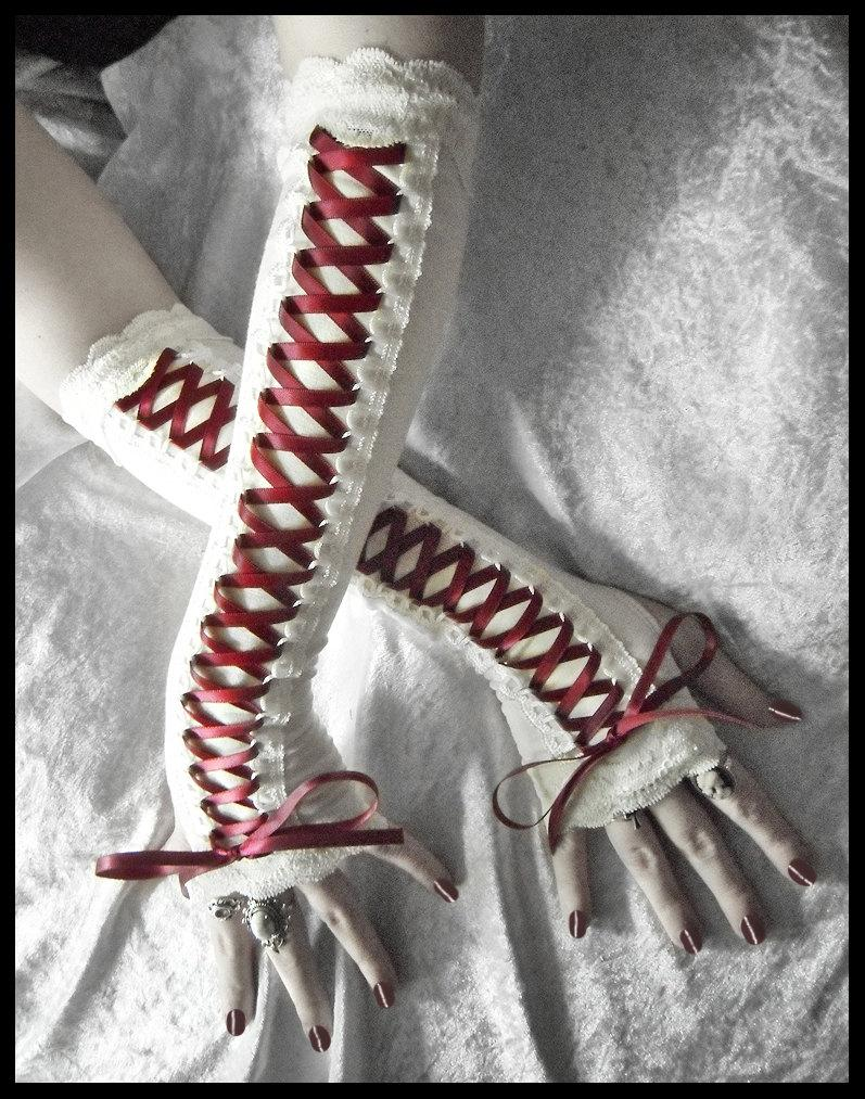 Mariage - Scarlet Maiden Victorian Corset Laced Up Arm Warmers - Pale Ivory - Lace - Burgundy Ribbon - Vampire Gothic Belly Dance Burlesque Emo Bridal