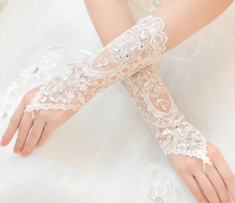 Mariage - Tulle gloves fingerless gloves Rhinestone gloves wedding gloves  lace flower gloves grace gloves Ivorybridal gloves in handmade