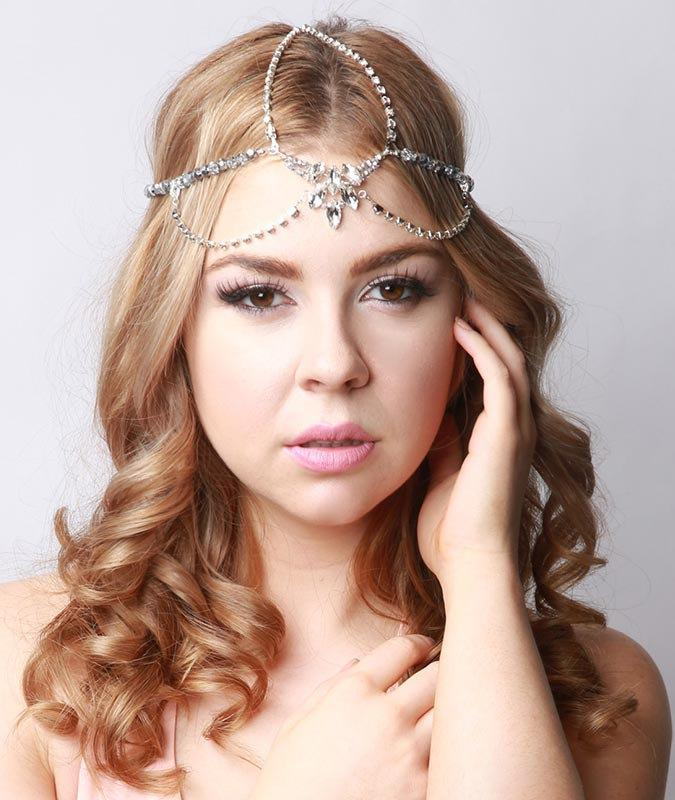 Bohemian Bridal Headpiece Silver Gatsby 1920s Style Hair Jewelry