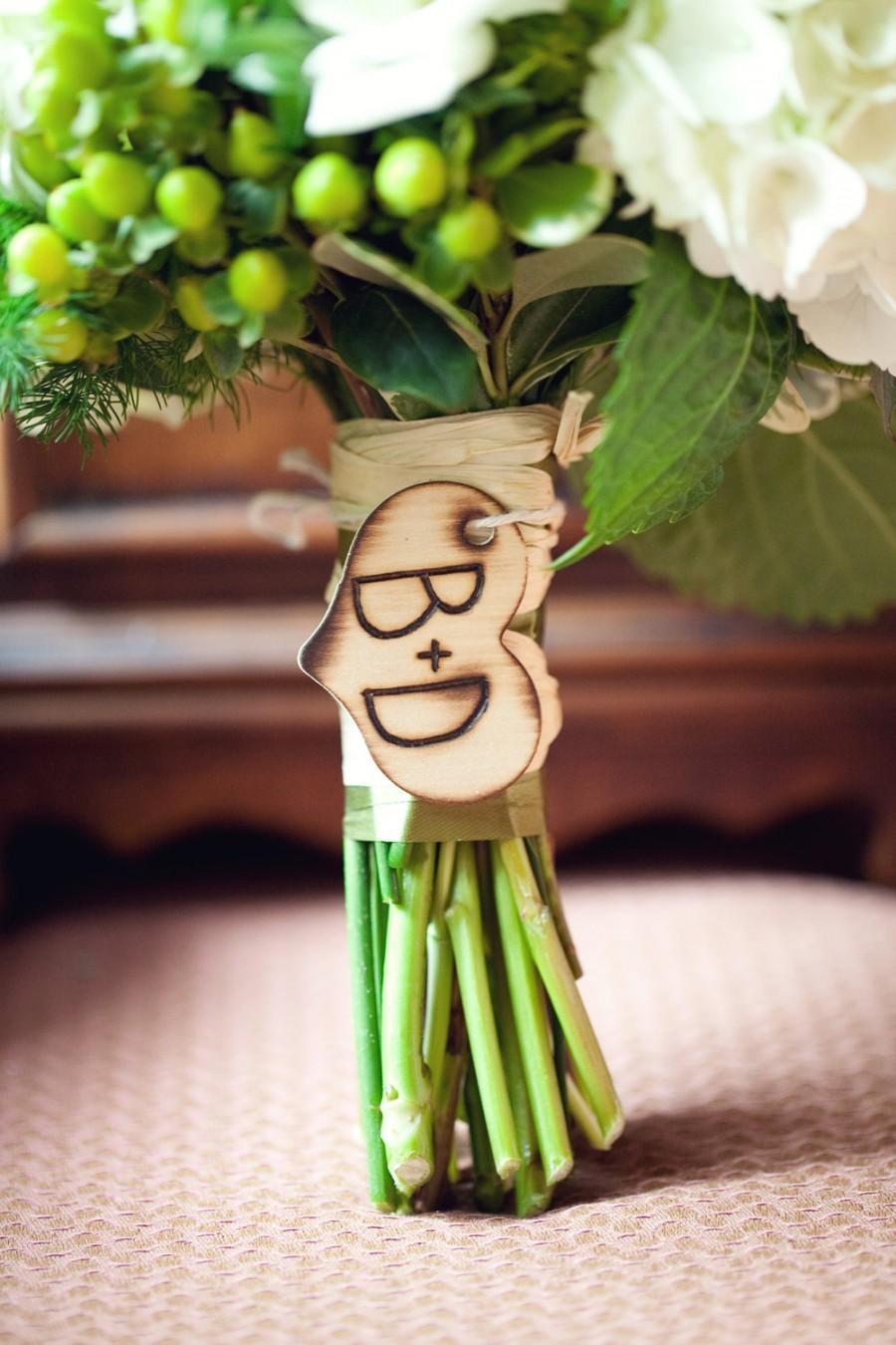 Mariage - Rustic Chic Engraved Wood Heart Charm For Bride Bouquet (item E10452)