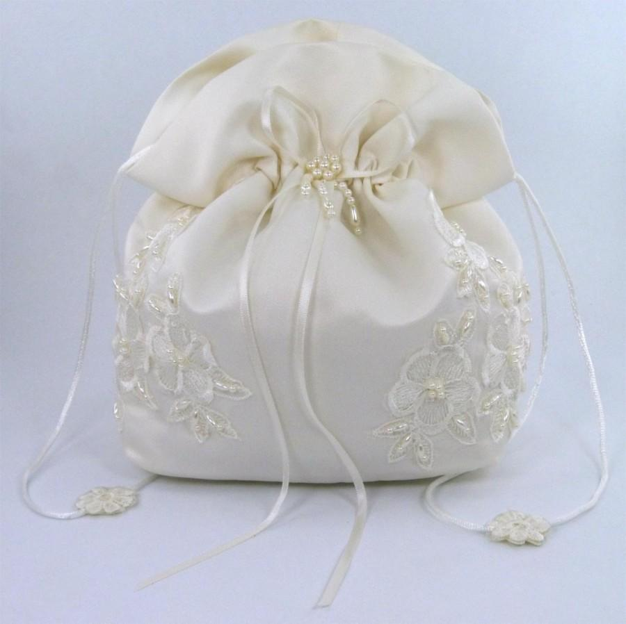 Hochzeit - Satin Bridal Wedding Small Money Bag (#E1D4DBiv) with Pearl-Embellished Floral Lace for Dollar Dance, Bridal Purse & Other Special Occasions
