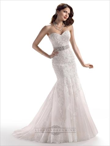 Wedding - Strapless Sweetheart Mermaid Lace Embroidered Wedding Dress with Beaded Belt