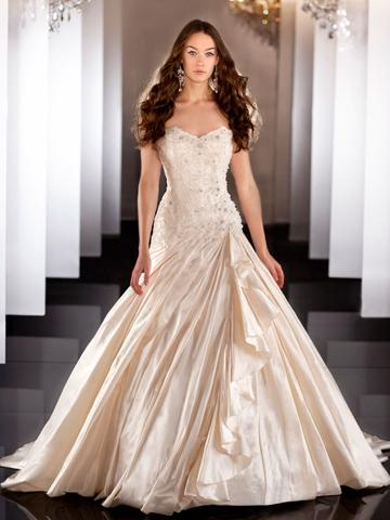 Sweetheart Beaded Bodice Ball Gown Wedding Dress With Ruched Skirt 2443996