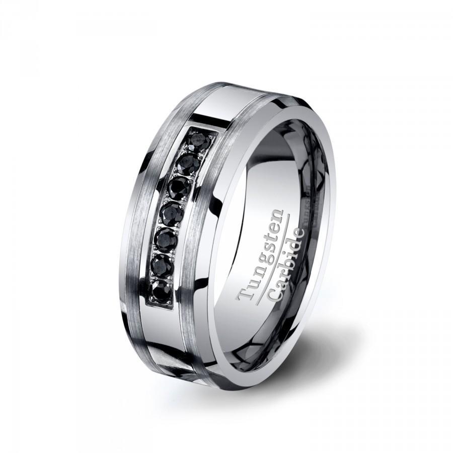 Mariage - Mens Wedding Band 8mm Tungsten Ring with Black CZ Diamonds Tungsten Carbide Beveled Edge Comfort Fit
