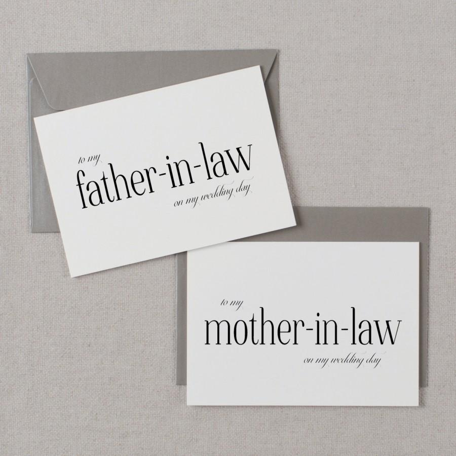 Wedding - To My Mother-In-Law, To My Father-In-Law On My Wedding Day, In Laws Wedding Card, Thank You Card, Parents In Law Wedding Cards, 2 Cards, K3