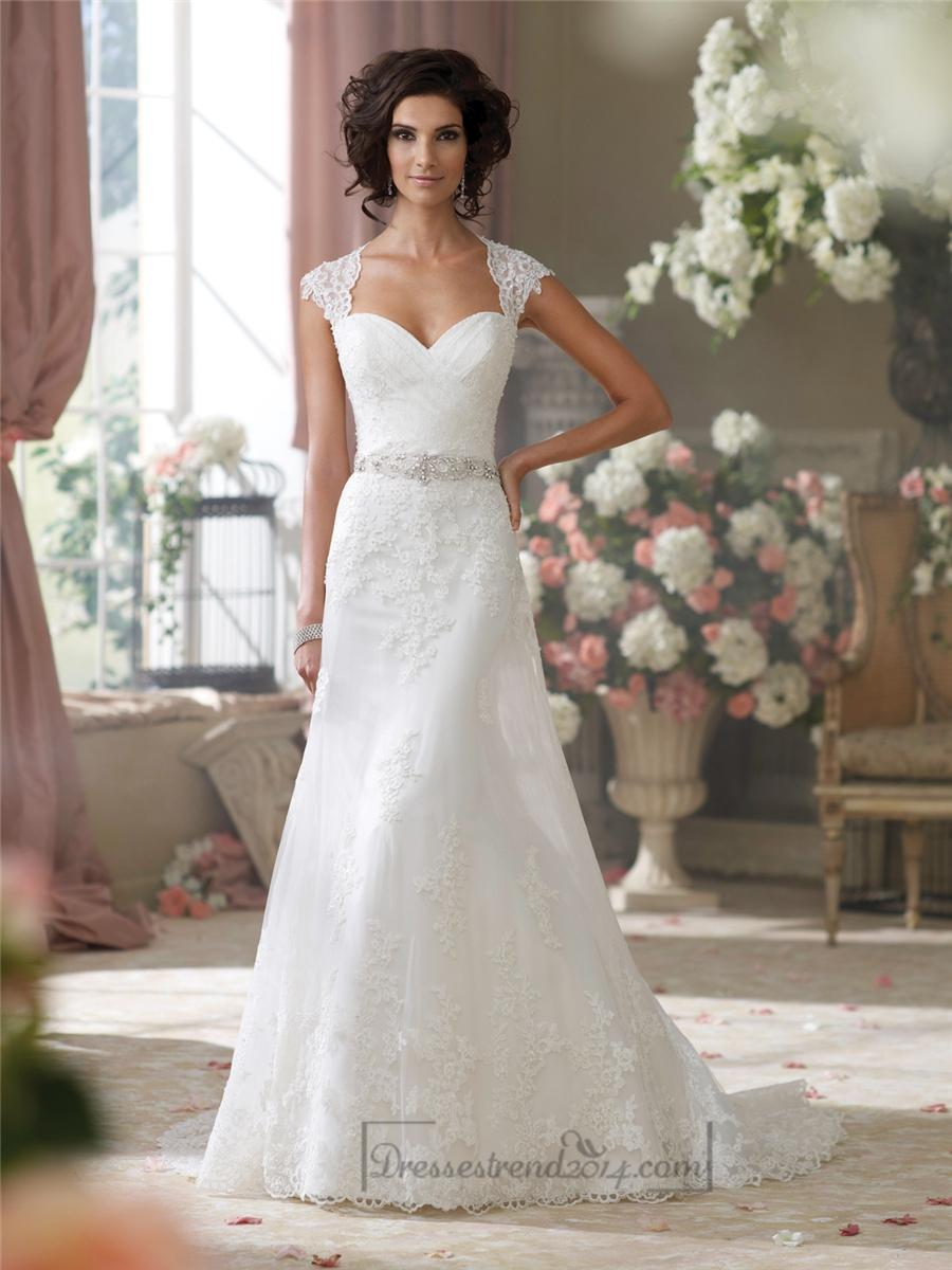 Hochzeit - Cap Sleeves Slim A-line Sweetheart Lace Appliques Wedding Dresses - Modbridal.com