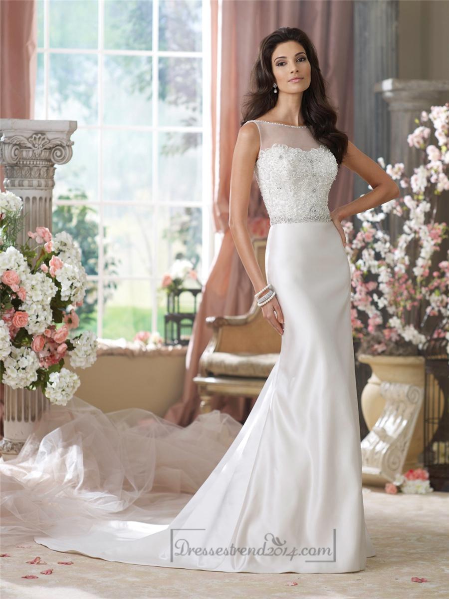 Illusion bateau neckline embroidered mermaid wedding for Deep v back wedding dress
