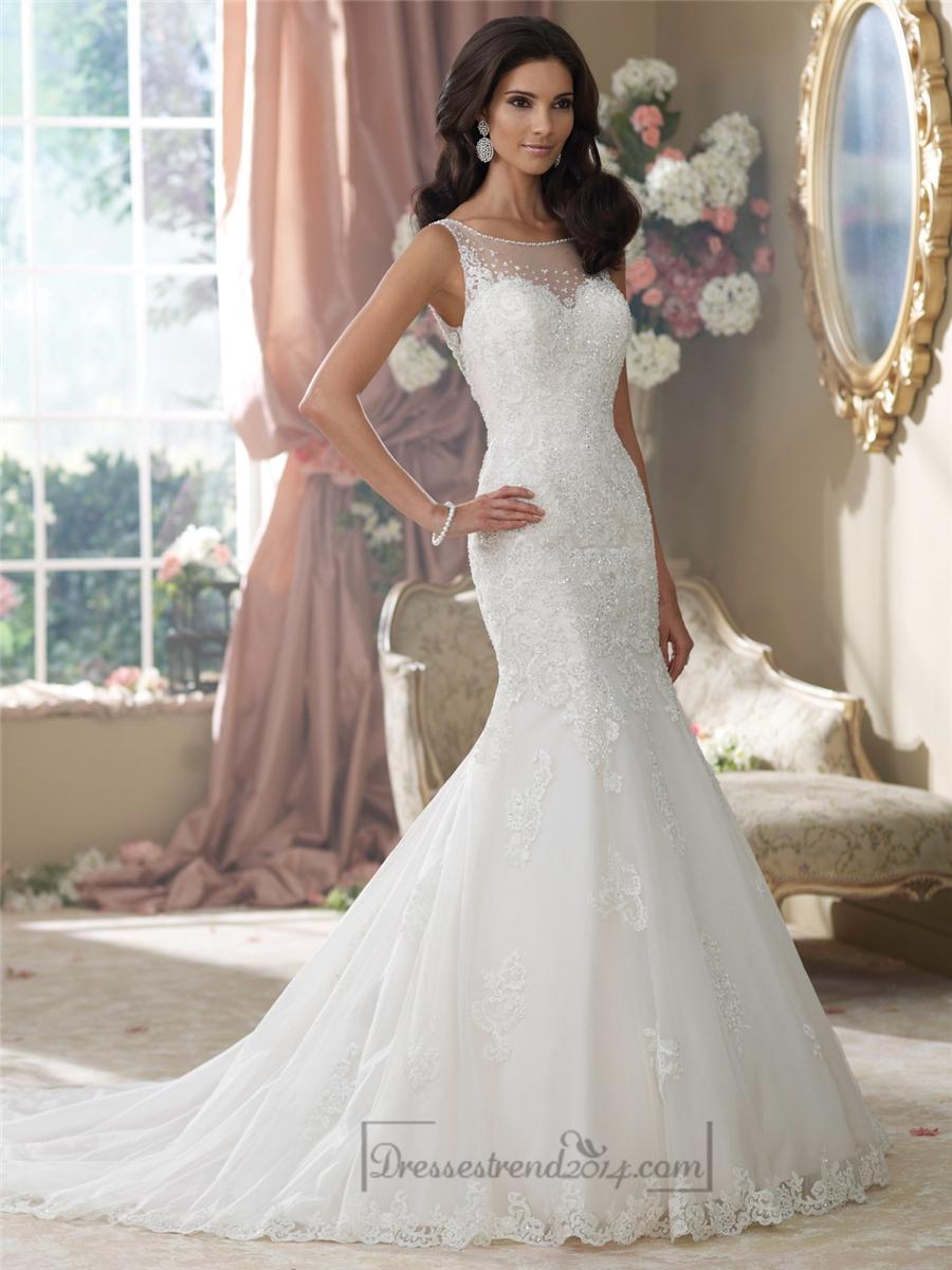 Свадьба - Embroidered V-back Mermaid Wedding Dresses Features Illusion Bateau Neckline - Modbridal.com