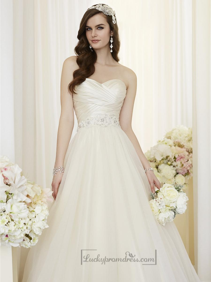 criss cross asymmetrical sweetheart neckline a line wedding dresses