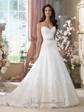 Strapless Sweetheart A Line Lace Liques Wedding Dresses Luckypromdress Online