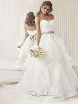 Cheap Bridesmaid Dresses Online | Elegant Sweetheart A Line Ruched Wedding Dresses With Layered Skirt