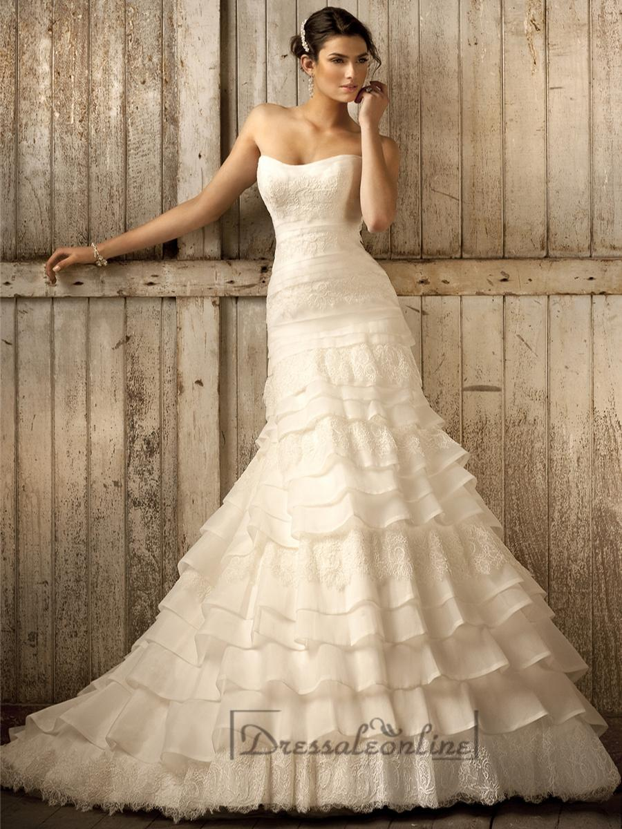 Wedding - Strapless A-line Scoop Neckline Tiered Ruffled Vintage Wedding Dresses - Dressaleonline.com