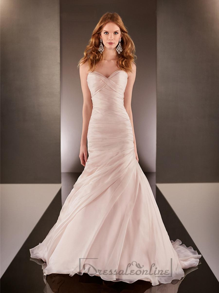 fit and flare cross sweetheart neckline ruched bodice On fit and flare ruched wedding dress