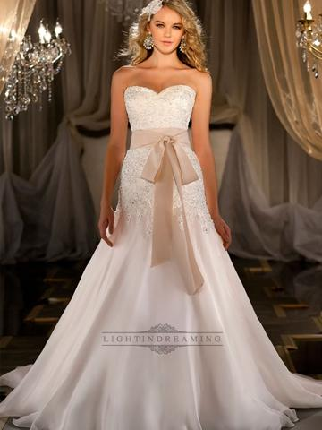 Wedding - Silk Organza A-line Sweetheart Beaded Wedding Dress