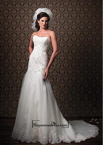 Свадьба - Amazing Gorgeous Tulle & Satin A-line Strapless Neckline Raised Waistline Wedding Dress
