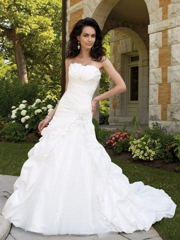 Wedding - Strapless Crumb-catcher Ball Gown Wedding Dress with Sunburst Pleated Bodice