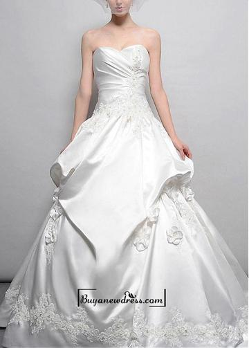 Wedding - Amazing Satin Ball Gown Strapless Sweetheart Neckline Natural Waist Beaded Appliques Wedding Dress With Handmade Flowers