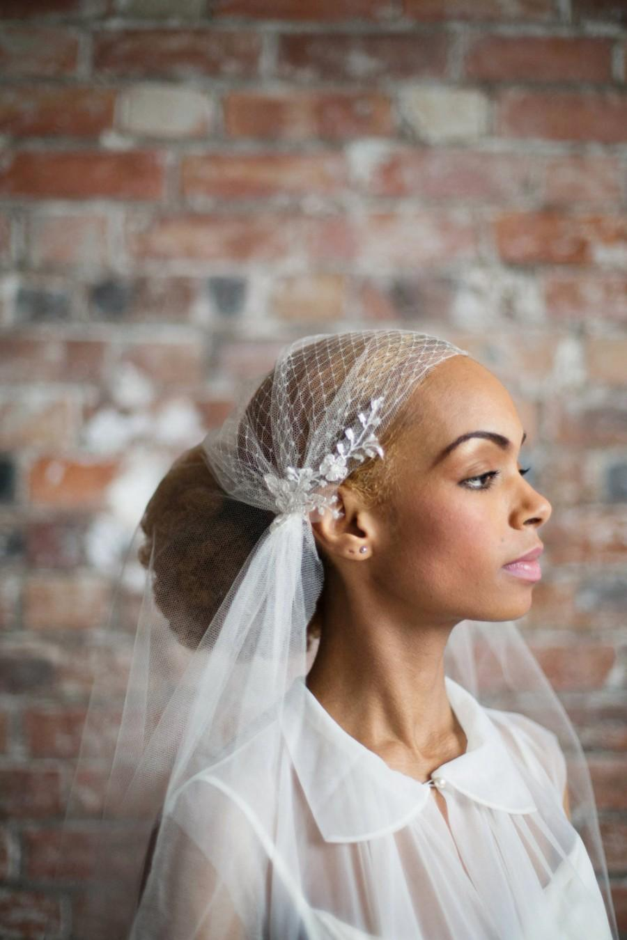 Свадьба - Silk tulle juliet cap veil - 1930s vintage style veil with french net and beaded floral lace - chapel length, waltz length, cathedral length