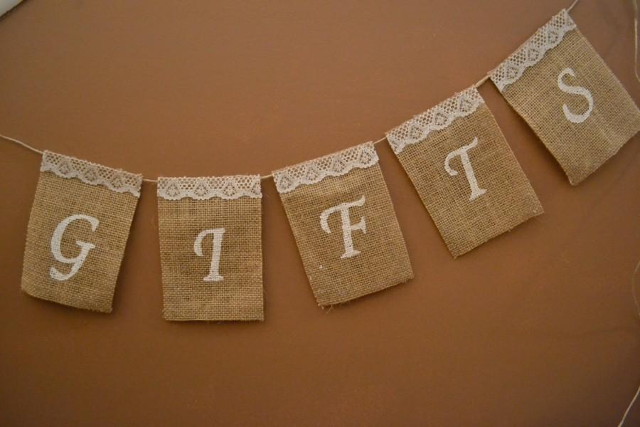 Mariage - Customizable Burlap Gifts Banner, Wedding Gifts Sign, Party Gifts Banner