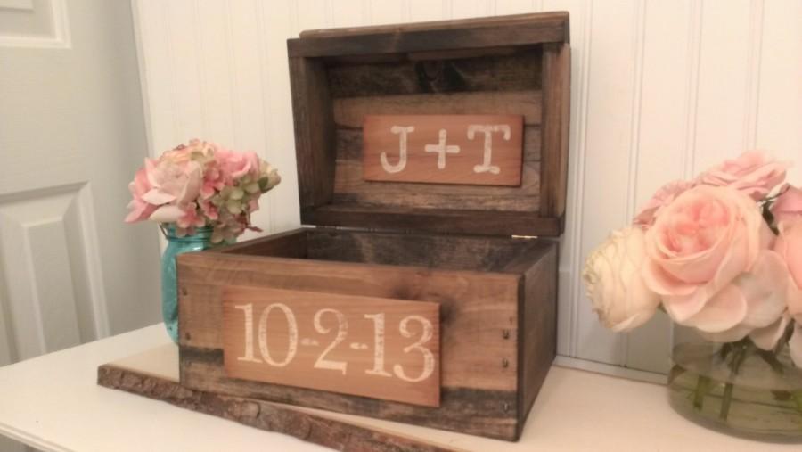 Mariage - rustic wedding card box, burlap wedding reception card box