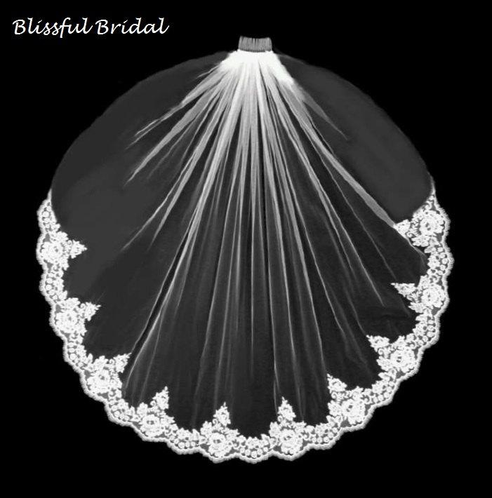 Mariage - Lace Edge Wedding Veil, Alencon Lace Wedding Veil, Lace Bridal Veil, Wedding Veil